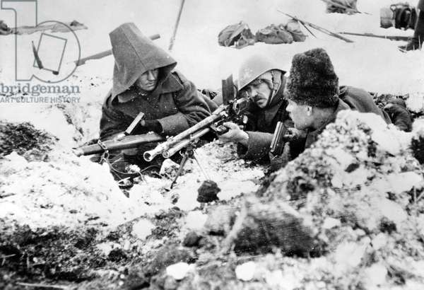 Italian and Romanian troops at Stalingrad, 1942-43 (b/w photo)