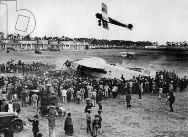 Landing of Evangeline Lindbergh in Mexico City, 1938 (b/w photo)