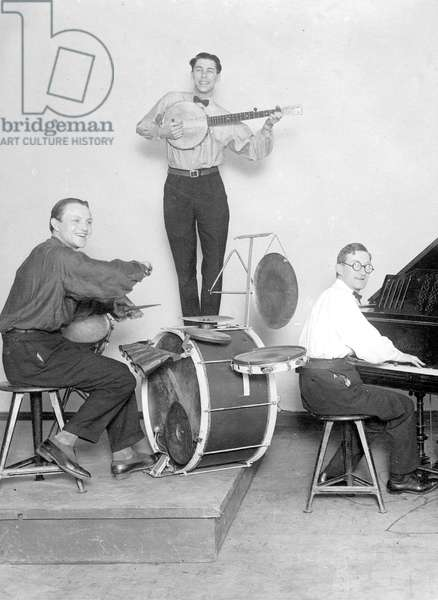 Bauhaus Members' Jazz Band in performance for colleagues, Dessau, 1925 (b/w photo)