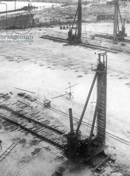 Construction site of the Nuremberg Kongresshalle (Congress Hall), 1936 (b/w photo)