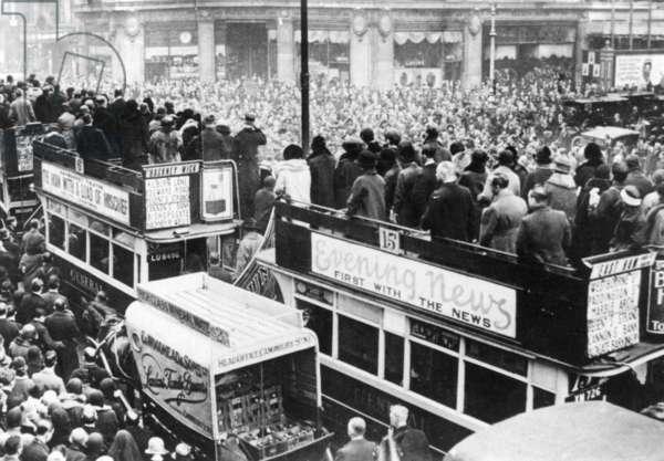 Armistice celebration in London, 1918 (b/w photo)