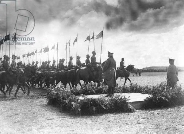Paul von Hindenburg at a Reichswehr maneuver, 1925 (b/w photo)