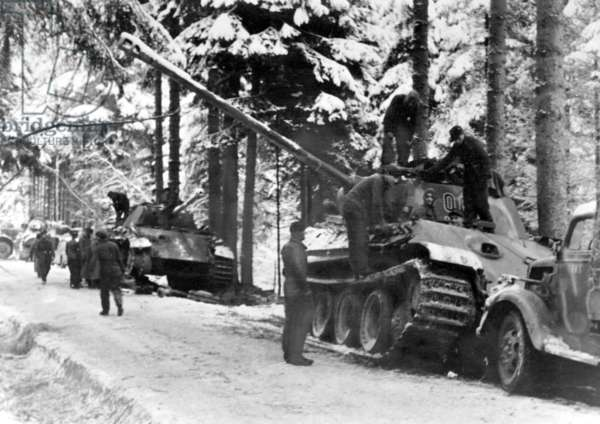 German main battle tank during The Battle of the Bulge, 1945 (b/w photo)