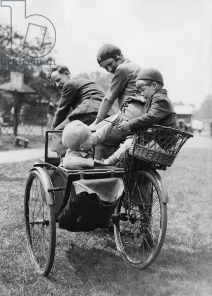 Family on tandem during a trip to England, 1937
