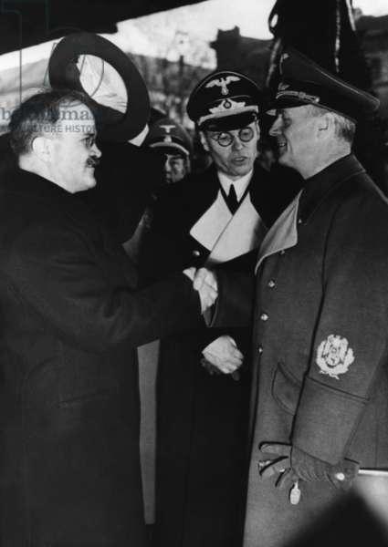 Vyacheslav Mikhailovich Molotov, Foriegn Secretary of the Soviet Union, meeting with Joachim von Ribbentrop, Foreign Minister of Germany (b/w photo)