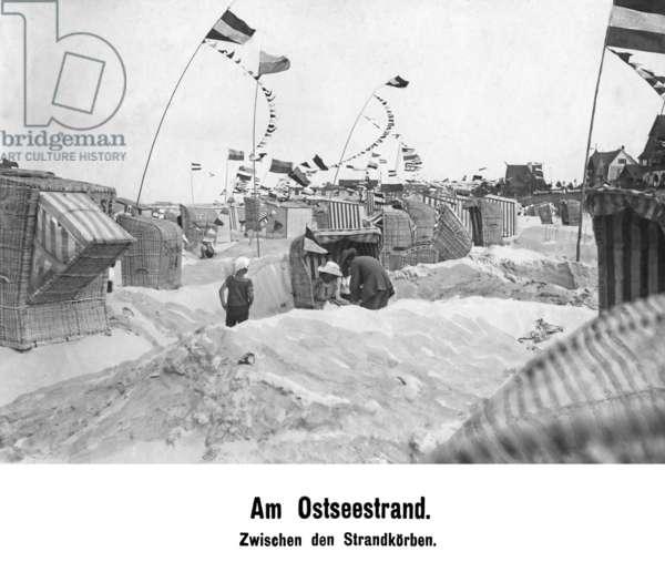 On the Baltic Sea beach, 1919 (b/w photo)