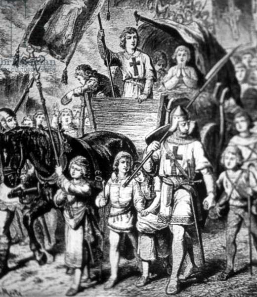 Representation of the so-called Children's Crusade (b/w photo)