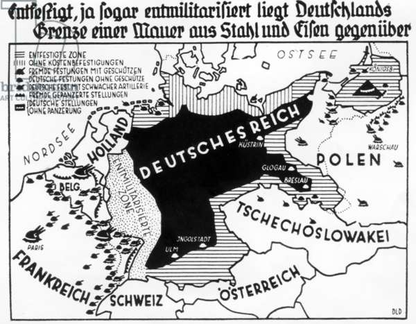 Map of the defortified and demilitarized Germany under the Treaty of Versailles