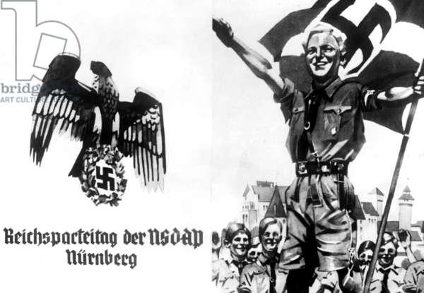 Schmuckblatt (decorative telegram) of the Nuremberg Rally, 1935 (b/w photo)