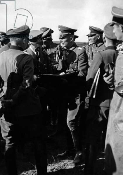 Adolf Hitler and Wehrmacht officers in Poland, 1939 (b/w photo)