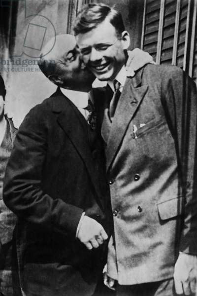 Louis Bleriot and Charles Lindbergh, around 1927 (b/w photo)