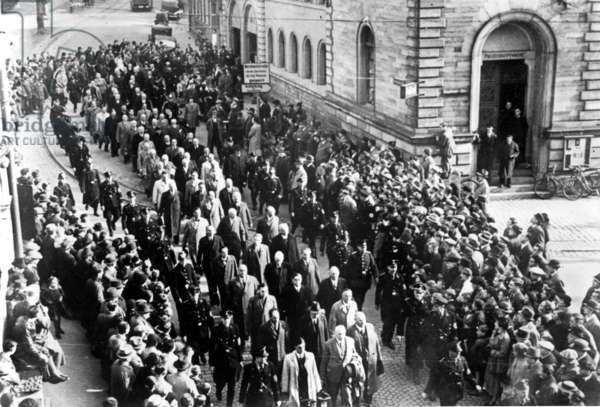 Arrest of Jews after the Kristallnacht in Baden-Baden, 1938 (b/w photo)