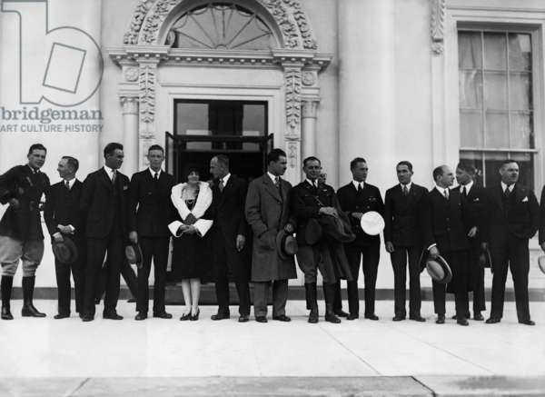 Charles Lindbergh and other pioneers of flight in front of the White House, 1927 (b/w photo)