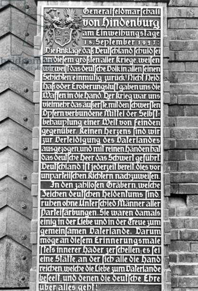 Plaque bearing the speech of Hindenburg in Tannenberg