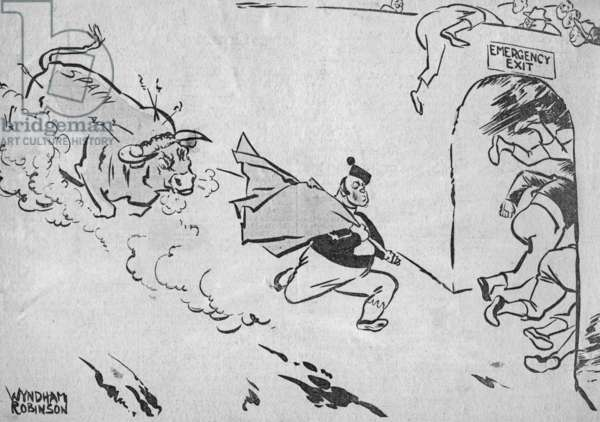 Caricature of the Spanish Civil War by Wyndham Robinson, 1936