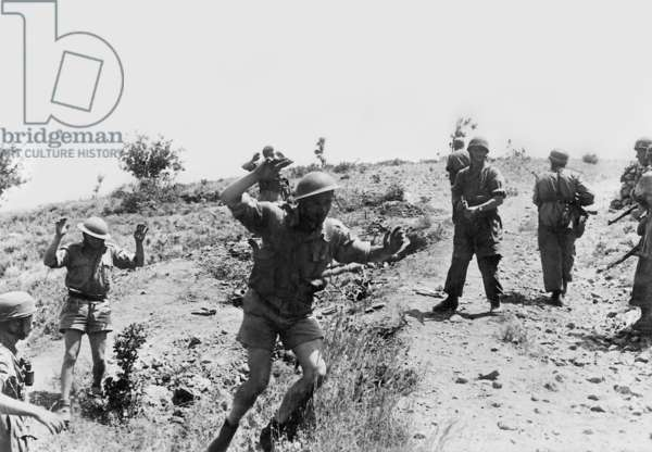 British soldiers in surrender, following Nazi airborne invasion of Crete, May 1941 (b/w photo)