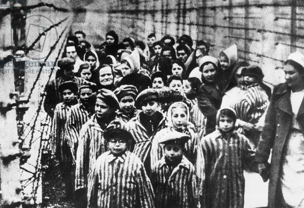 Liberation of the Auschwitz concentration camp in 1945 (b/w photo)