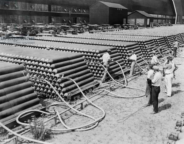 Helium storeroom in Lakehurst, 1938 (b/w photo)