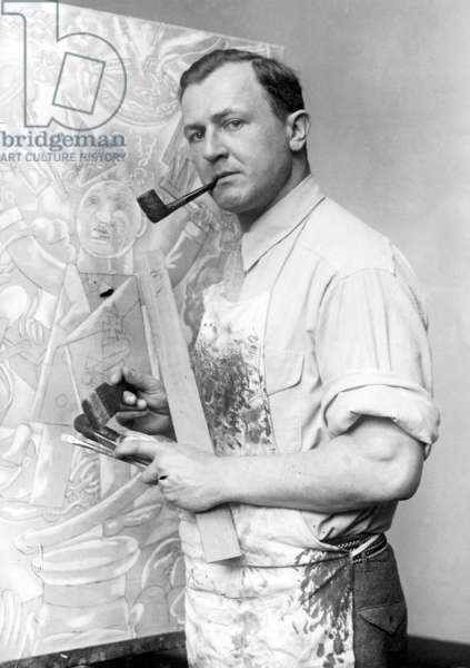 George Grosz in his studio, c.1920s (b/w photo)
