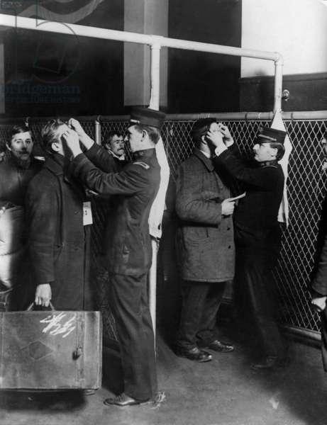 Health control of the immigrants on Ellis Island (b/w photo)