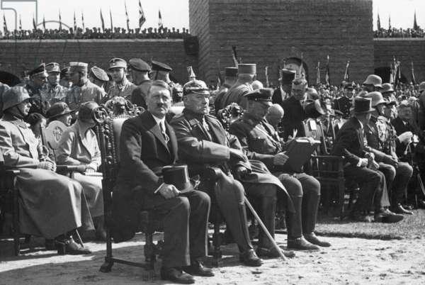 Adolf Hitler. Paul von Hindenburg, Hermann Goering during the Tannenberg celebration, 1933 (b/w photo)