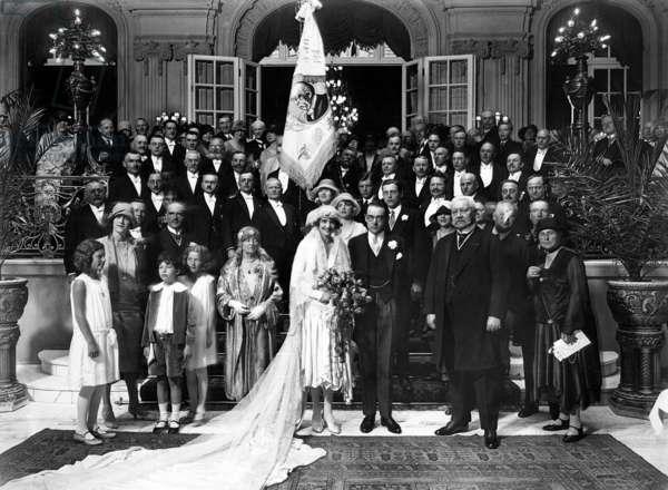 Paul von Hindenburg at the wedding of Otto von Bismarck, 1928 (b/w photo)