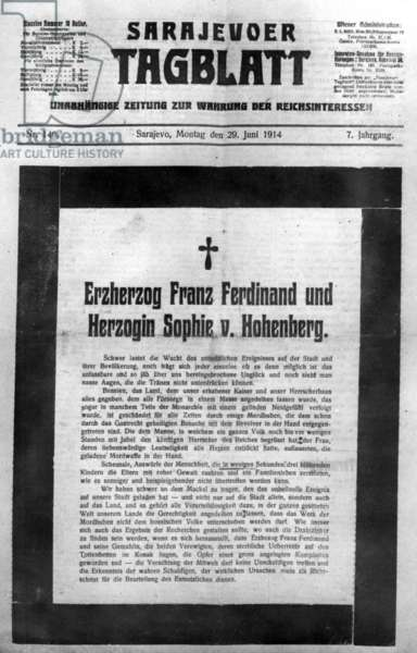 Obituary of Archduke Franz Ferdinand and Dutchess Sophie, 1914 (b/w photo)