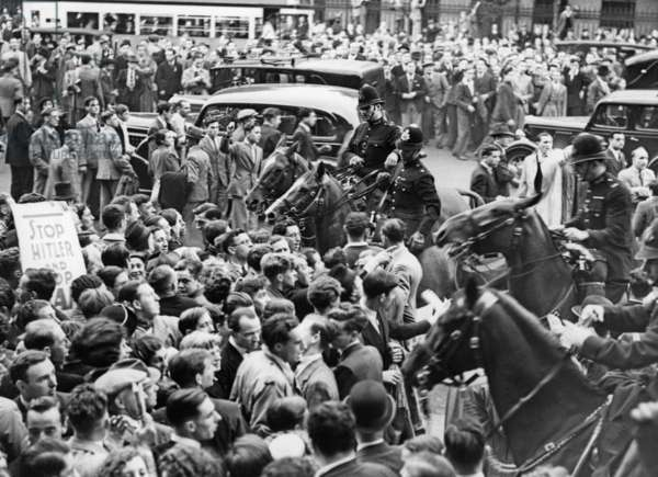 Protests against the Anschluss (annexation) of the Sudetenland in London, 1938