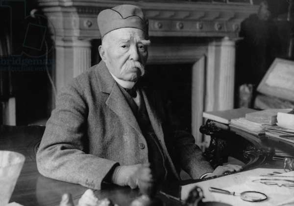 Georges Clemenceau on his 87th birthday, 1928 (b/w photo)