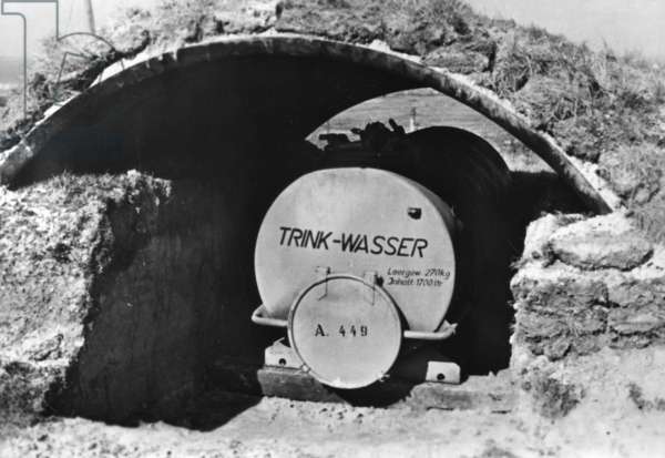 Drinking water reservoir in a coastal fortification on the Atlantic Wall, 1943 (b/w photo)