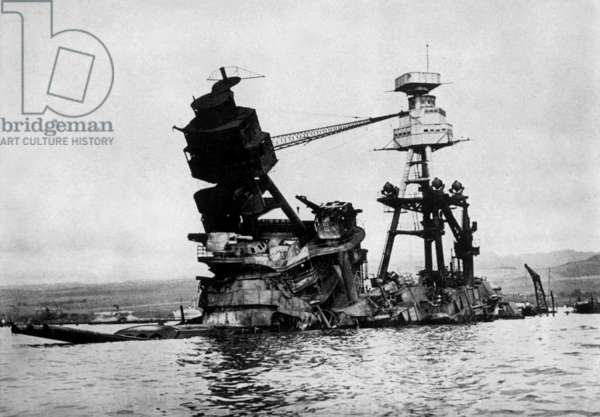 The Destroyed Battleship Arizona at Pearl Harbour, 1941  (b/w photo)