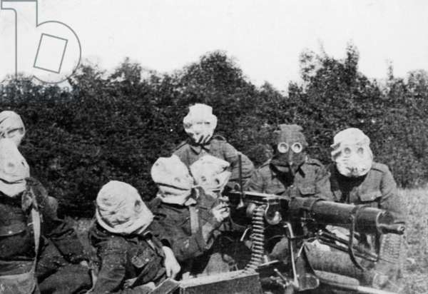 British soldiers with gas protection, 1915 (b/w photo)