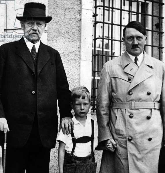 Adolf Hitler visits Hindenburg, 1933 (b/w photo)
