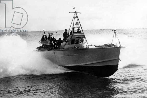 Air and naval battle in the Mediterranean, c.1939-45 (b/w photo)