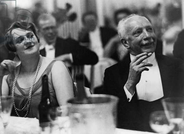 The composer Richard Strauss, along with the opera singer Maria Jeritza, a soprano, at a gala evening in Berlin, c.1930-32 (b/w photo)