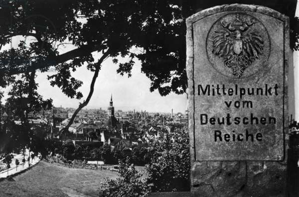 A memorial stone marking the geographical center of the German Empire, 1932 (b/w photo)