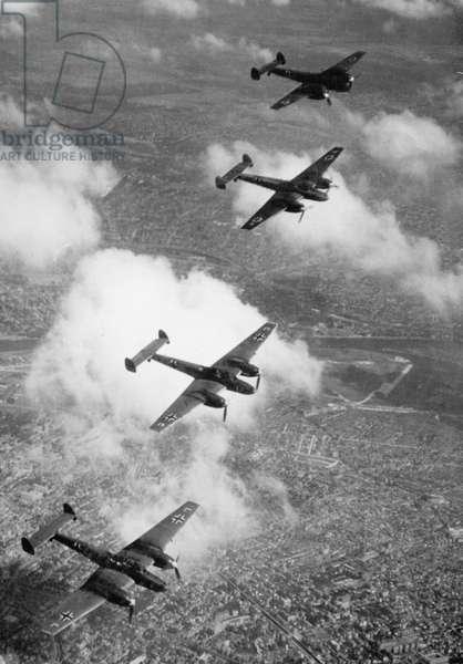 Messerschmitt Me 110 during the Battle of Britain, 1940 (b/w photo)