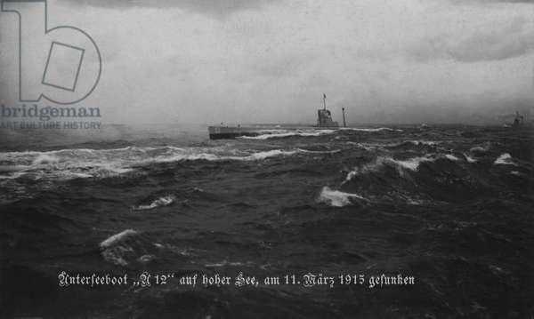 German submarine U-13, 1914 (b/w photo)