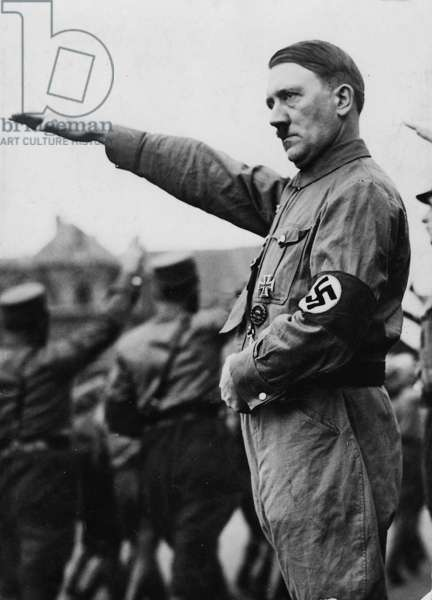 Adolf Hitler Takes the Salute of SA Troops, 1933 (b/w photo)