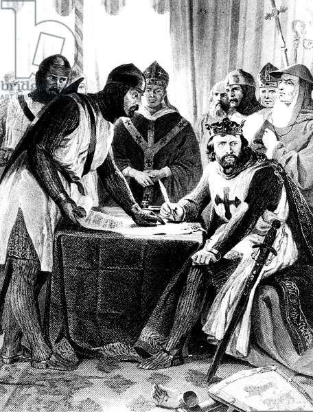 Signing of the Magna Carta Libertatum in 1215 (b/w photo)