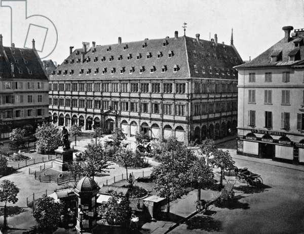 Place Gutenberg in Strasbourg (b/w photo)