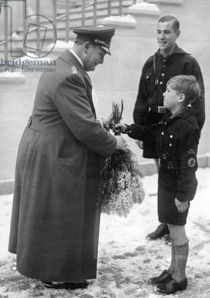 Hermann Göring on his birthday, 1935 (b/w photo)