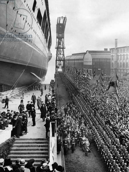 "Launching of the ""Graf Zeppelin"" in Kiel, 1938 (b/w photo)"