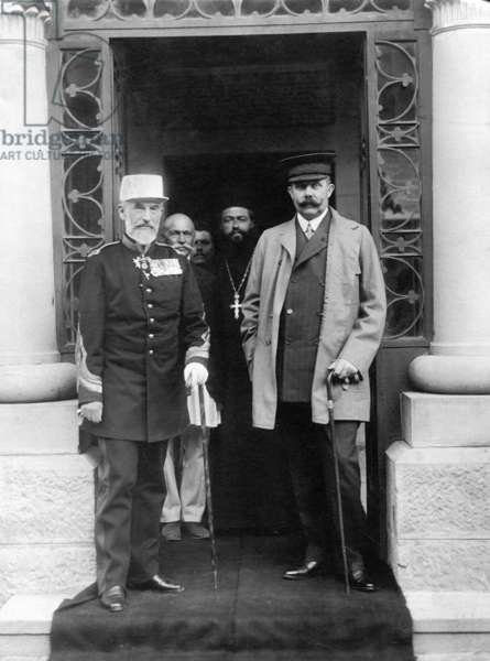 Archduke Franz Ferdinand with the Romanian King Carol I, 1909 (b/w photo)