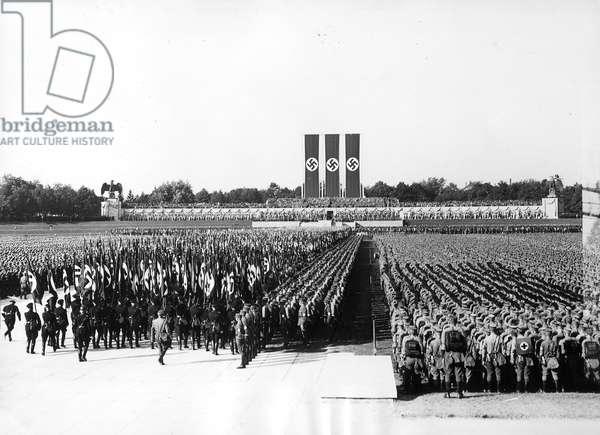 Flag parade during the Nuremberg Rally, 1936 (b/w photo)