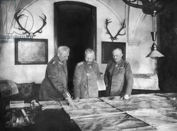 Paul von Hindenburg, Wilhelm II and Erich Ludendorff at the General Headquarters, 1917 (b/w photo)