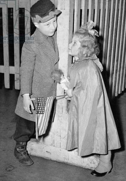 Jewish refugee children after their arrival in New York, 1938 (b/w photo)