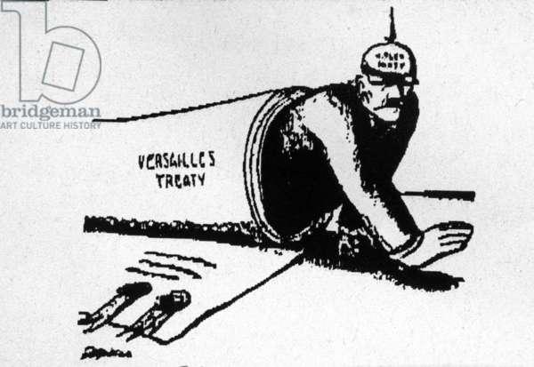 Cartoon of The Treaty of Versailles (b/w photo)