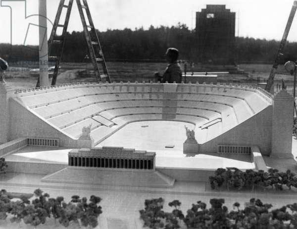 Model of the Deutsches Stadion in Nuremberg, 1937 (b/w photo)