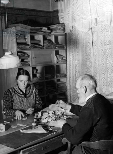 Sorting of food ration cards in the district of Niederbarnim, 1942 (b/w photo)